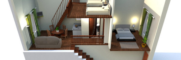 estancia familiar duplex con habitación, vista infografía