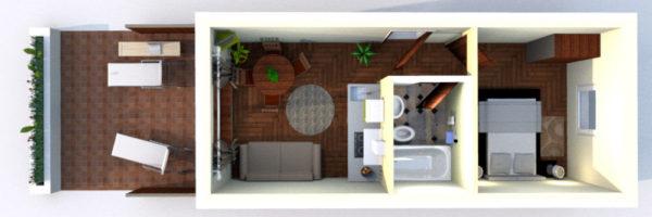 estancia familiar con habitación y terraza, vista infografía
